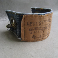 Levi Denim Cuff Bracelet - Blue Denim Bracelet - Upcycled Levi Bracelet - Jeans bracelet - Levis - Bracelet - Piece Lust