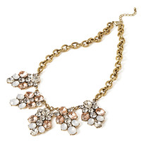 FOREVER 21 Faux Gem Cluster Necklace Peach/Burn.G. One