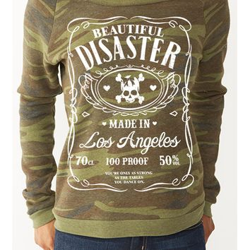 "Women's ""100 Proof"" Crewneck Sweatshirt by Beautiful Disaster (Camo)"