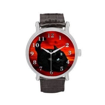 Black Cat Vintage Leather Strap Watch