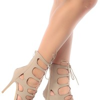 Taupe Faux Nubuck Cut Out Lace Up Heels