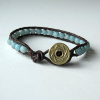Wrapped leather bracelet - Sky blue Peking onyx gemstone beads