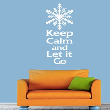 Keep Calm and Let It Go Wall Decal - Frozen - Home Decor - Gift Idea - Kids Room - Nursery - Living Room - Bedroom - Office