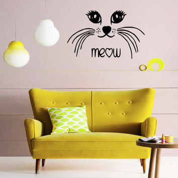 Cat Meow Wall Decal - Home Decor - Gift Idea - Kids Room - Nursery - Living Room - Bedroom - Office - Cat's Room