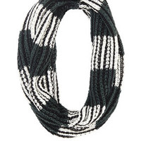 Green BCBG Color-Blocked Striped Infinity Scarf