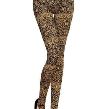 Anisa Gold Aztec Leggings
