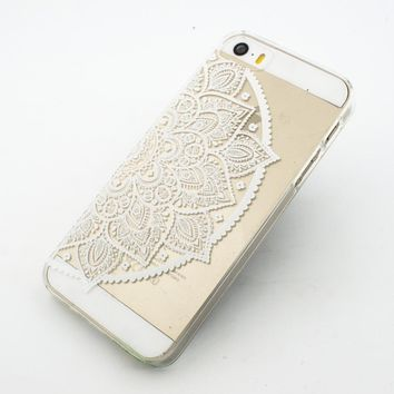 Clear Plastic Case Cover for Apple iPhone 5/5S, 5C, 6, 6Plus 6+ - Henna Lotus Mandala half hindu ganesh buddhist indian flower floral