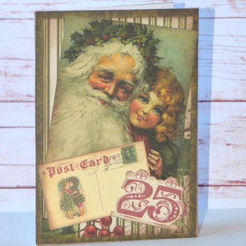 Old World Santa and Child Vintage Inspired Handmade Christmas Greeting Card, St. Nicholas Paper Craft, Ephemera Blank Note Card