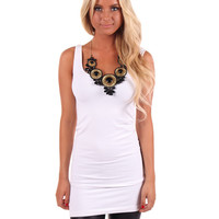 White Seamless Long Tank Top