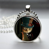 Round Glass Pendant Bezel Pendant Cat Pendant Steampunk Cat Necklace Photo Pendant Art Pendant With Silver Ball Chain (A3901)