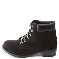 Lace-Up Lug Sole Work Boots by Charlotte Russe - Black