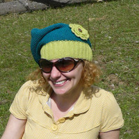 Women's knit hat in blue and green, handmade two colored hat with beautiful flower decoration
