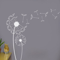 Dandelions Vinyl Wall Decal Art graphic Sticker set with blowing seeds for home decor or office