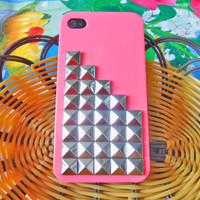iPhone hard Case cover with silver pyramid for Apple iPhone 4 case,iPhone 4S case, iPhone 4GS case cover  SJK-1778