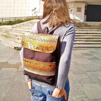 Brown Backpack - Rucksack - Canvas backpack - Laptop backpack