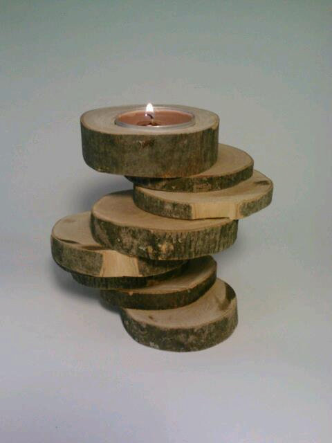 Rustic candle holder log tealight from deerwood creek gifts for Rustic wood candle holders