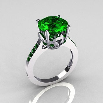 Classic 14K White Gold 3.5 Carat Emerald Solitaire Wedding Ring R301-14KWGEM