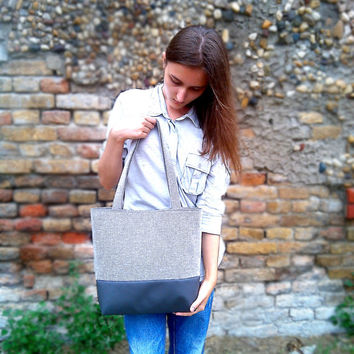 Tote Bag - Leather Bag - Grey Handbag - Canvas Bag