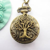 pocket watch--antique bronze tree with eagle pocket watch ,alloy chain necklace