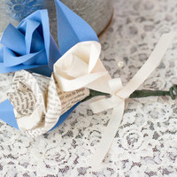 Book Page Paper Rose Wedding Corsage