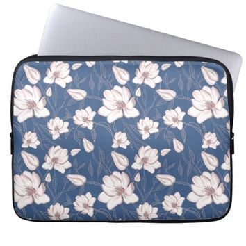 Girly Romantic Spring Floral Pattern Laptop Sleeve