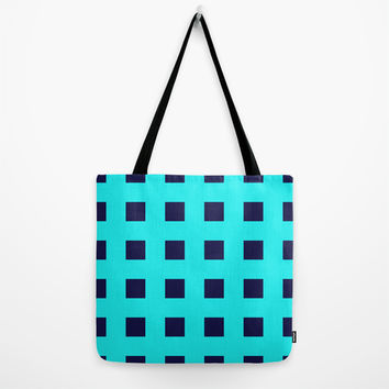 Cross Squares Navy Turquoise Tote Bag by Beautiful Homes