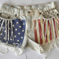 "AMERICAN FLAG Studded Cut Off Levis Denim Festival Shorts with Tassels - ""Woodstock"" SMALL"