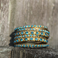 Vintage Indian Blue and Gold bangles (set of 6)