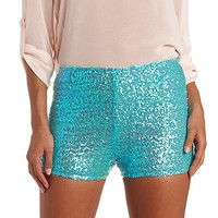 High-Waisted Sequin Shorts by Charlotte Russe - Aqua