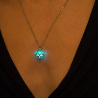 Aqua Little Glowing Heart Necklace - Glow in the Dark Necklace - Glowing Heart Locket - Silver Halloween Necklace - Luminous Necklace