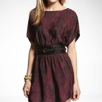 PRINTED ELASTIC WAIST DRESS at Express