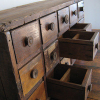 City Owl — Primitive 15-Drawer Spool Cabinet