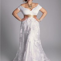 Plus Size Eugenia Vintage Wedding Gown - Basadress.com