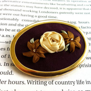 Purple, Copper and Cream Beaded Rose Brooch - Silk Ribbon Embroidery by BeanTown Embroidery