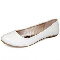 WHITE PATENT SOLID FLAT @ KiwiLook fashion