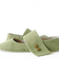 Women's green ballet flats slippers, Zen Olivine minimalist style house shoes, eco friendly vegan mary jane slippers in linen