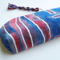 Pouch Canvas Blue Red White Lined zipper closing Paint wash canvas OOAK