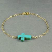 SALE : Turquoise Sideways Cross Bracelet, 14K Gold Filled Chain, Fashion, Simple, Pretty Bracelet