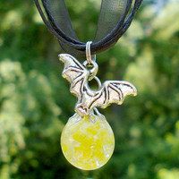 Batman Bat Yellow Glass Fried Marble Black Ribbon Necklace