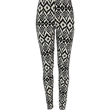 black tribal print jacquard leggings