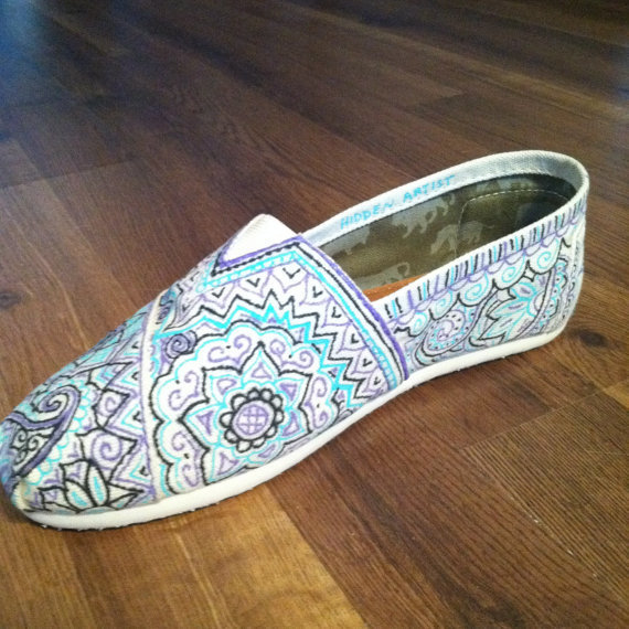 Hand-Painted Custom TOMS Multi-Color on Natural