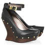 McQ Alexander McQueen Studded leather and wooden wedge pumps