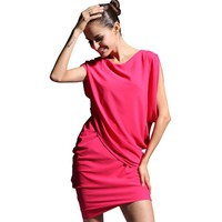 Bqueen Chiffon bat sleeve dress Rose Red SK021R - Designer Shoes|Bqueenshoes.com