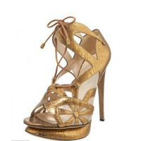 Nicholas Kirkwood Crackled Metallic Lace-Up Sandal