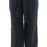 Joe`s Jeans Black Cotton Linen Blend Cuffed Capri Pant