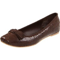 Wanted Shoes Women`s Shark Ballerina Flat,Brown,5.5 M US