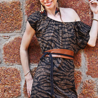 African print Mini dress with leather belt, Spring dress, Summer dress, Tunic dress,Sundress