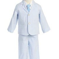 Lito Boys Light Blue Seersucker Suit (7)