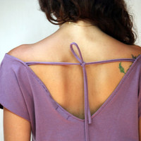 Summer Women Top with lace stripe, women's T-shirt, purple lace top, Open back top