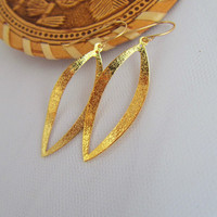 Gold earrings,Gold Oval earrings,  Drop earrings Bride Bridal Accessory Bridesmaid  fancy look Chic